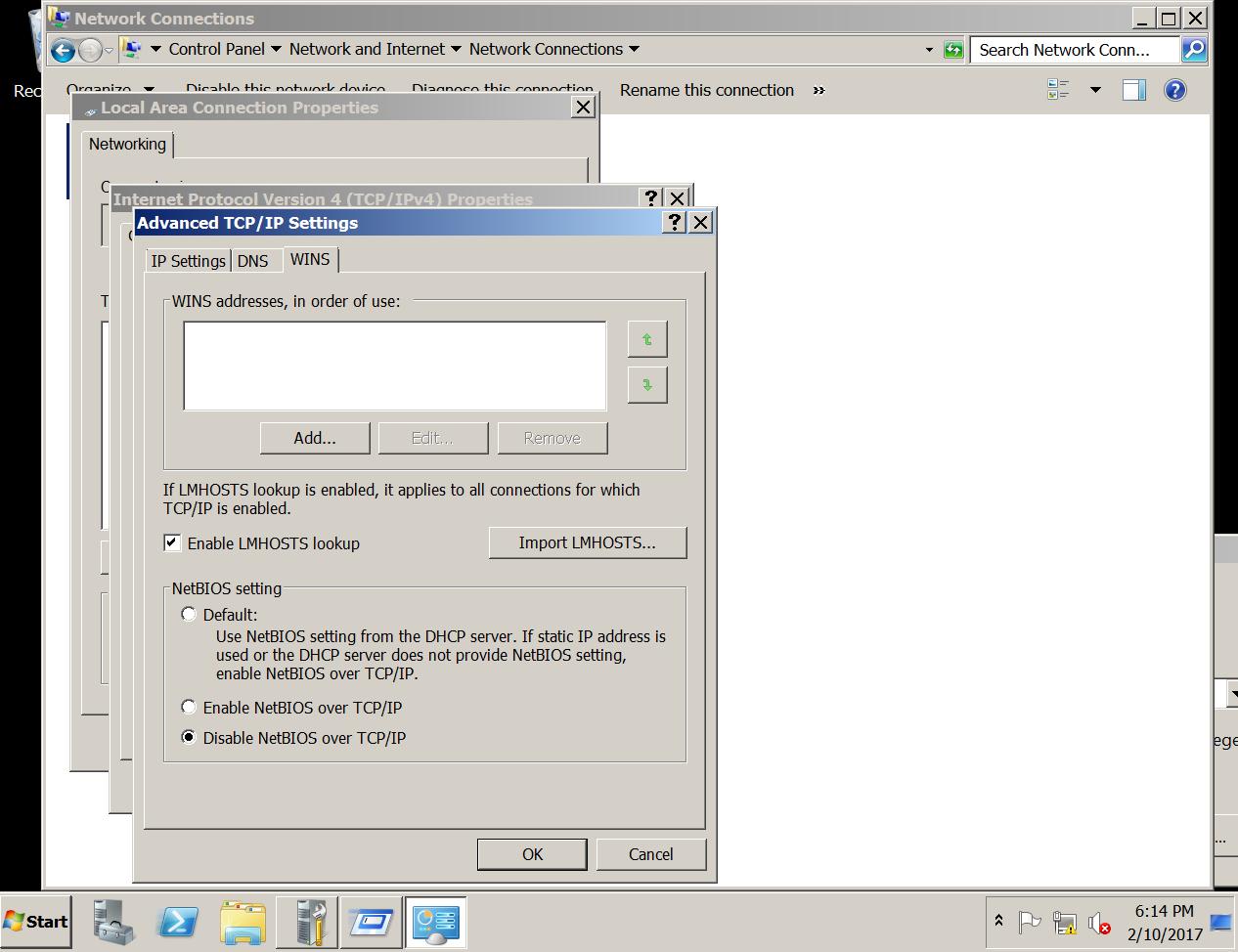 Disable NetBIOS Name Service 2008 Server R2